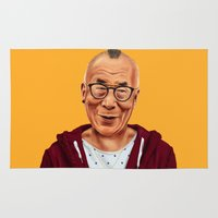 lama Area & Throw Rugs featuring Hipstory -  Dalai Lama by Amit Shimoni