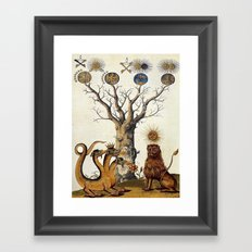 3 Headed Dragon and Lion - Garden of Beasts Collection Framed Art Print