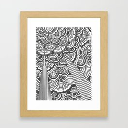 Grey floral mandala design - hydrangeas Framed Art Print