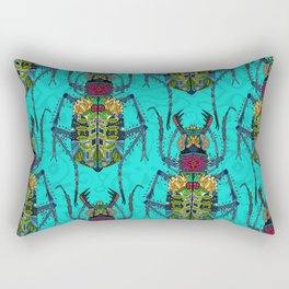 flower beetle turquoise Rectangular Pillow