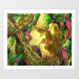 Nude mermaid & jelly fish ladykashmir Art Print