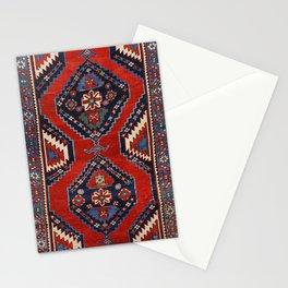 Kazak Shape 19th Century Authentic Colorful Dark Red Blue Vintage Patterns Stationery Cards