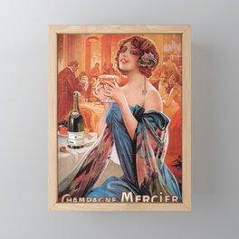 Vintage Paris French Mercier Champagne Advertisement Framed Mini Art Print