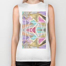 Geometric triangles watercolor hand paint pattern Biker Tank