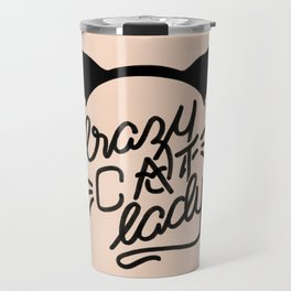 Crazy Cat Lady Calligraphy Lettering with Cat Ears & Whiskers on Pink Travel Mug