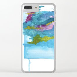 Salt Water Dreams: a vibrant abstract watercolor piece in blue, pink and yellow Clear iPhone Case