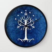 lotr Wall Clocks featuring The White Tree by Jackie Sullivan