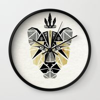 lion king Wall Clocks featuring lion king by Manoou