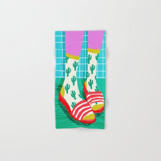 Sliders - memphis throwback retro neon 1980s 80s style pop art shoe fashion grid pattern socks Hand & Bath Towel
