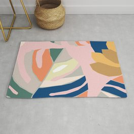 Monstera leaf Jungle mid century modern paper collage Rug