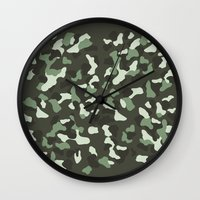 camo Wall Clocks featuring CAMO by Brukk