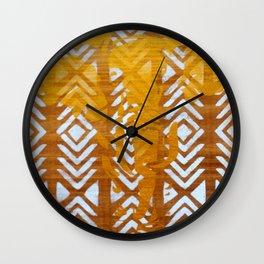 Gold Elephant and White Geometric Pattern Wall Clock