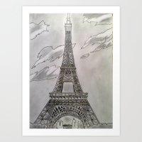 Eiffel Tower Drawing Art Print