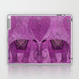 Elephants in Love pink heart artwork Laptop & iPad Skin