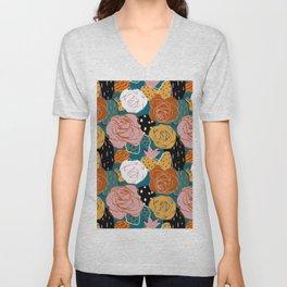Painterly Dotted Desert Roses Unisex V-Neck
