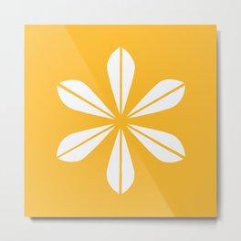 Mustard Yellow and White Cathrineholm Lotus Metal Print