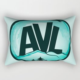 AVL - Asheville, NC - AVL 19 Watercolor Turquoise Rectangular Pillow