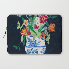 Bouquet of Flowers in Blue and White Urn on Navy Laptop Sleeve