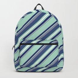 Fun Diagonal Stripes Blue Backpack
