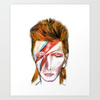 bowie Art Prints featuring Bowie by James Peart