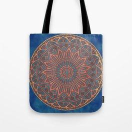 Wooden-Style Mandala Tote Bag