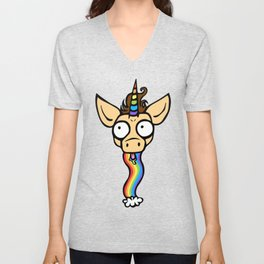 Unicorn Rainbow Puke Unisex V-Neck