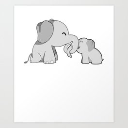 Mama Elephant And Cute Calf Mother's Day Gift Idea Art Print