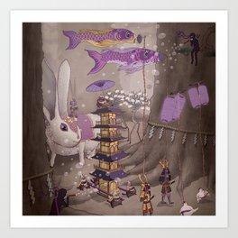 Tanuki Procession Art Print