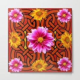 Caramel Brown Celtic Design Yellow Art Purple Dahlias Metal Print