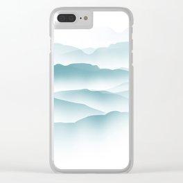 blue minimalist clouds Clear iPhone Case