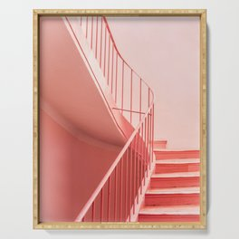 Pink steps   Pastel colored staircase in Cannes France   Travel architecture photography Serving Tray