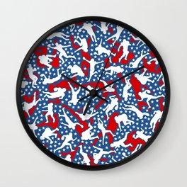 American Football Player USA Flag Camo Camouflage Pattern Wall Clock