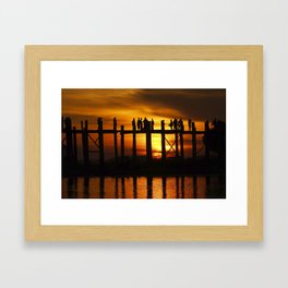 Sunset at U Bein Bridge, Myanmar Framed Art Print