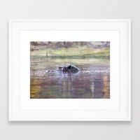 hippo Framed Art Prints featuring Hippo by Saskia von Sperber