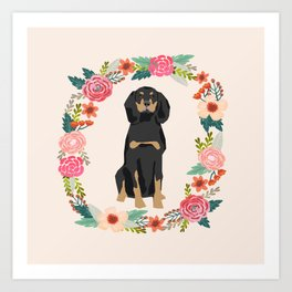 coonhound dog floral wreath dog gifts pet portraits Art Print
