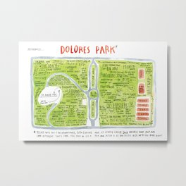 Dolores Park Map from Meanwhile in San Francisco Metal Print