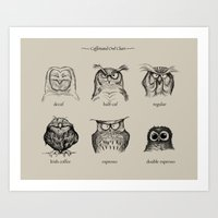 coffee Art Prints featuring Caffeinated Owls by Dave Mottram