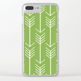 White Arrows on Green Clear iPhone Case