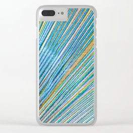 Vibrant Peacock Print Clear iPhone Case