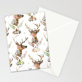 watercolor pattern deer head Stationery Cards