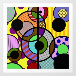 Patterned Retro - Geometric, Abstract Artwork Art Print