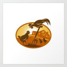 rooster hen chicken and chicks spade retro Art Print