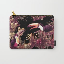 Toucans and Bromeliads - Dark Floral version Carry-All Pouch