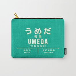 Vintage Japan Train Station Sign - Umeda Osaka Green Carry-All Pouch