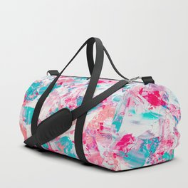 Modern bright candy pink turquoise pastel brushstrokes acrylic paint Duffle Bag