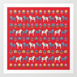 Dala Folk Red Art Print