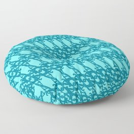Braided diagonal pattern of wire and light blue arrows on a blue background. Floor Pillow