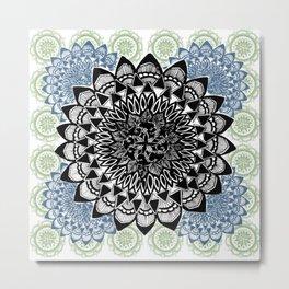 Light Green, Grey, and Black Muted Mandala Pattern Metal Print