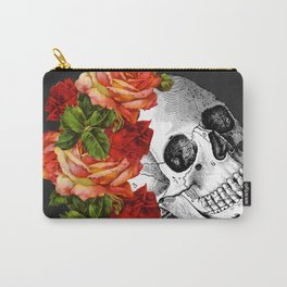 Day of the Dead Black Linen Carry-All Pouch