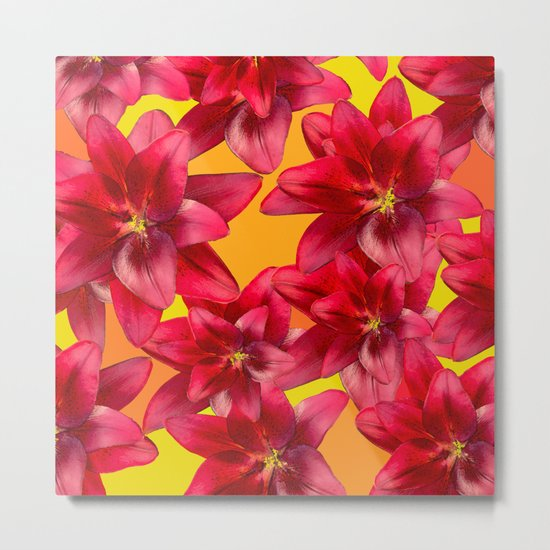 Red Beauty Lilies - Autumn Color - #Society6 #buyart Metal Print